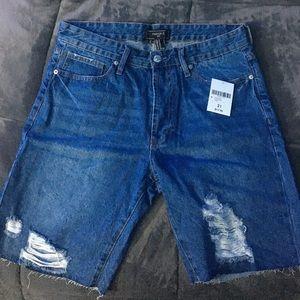 Men's Distressed Ripped Denim Shorts